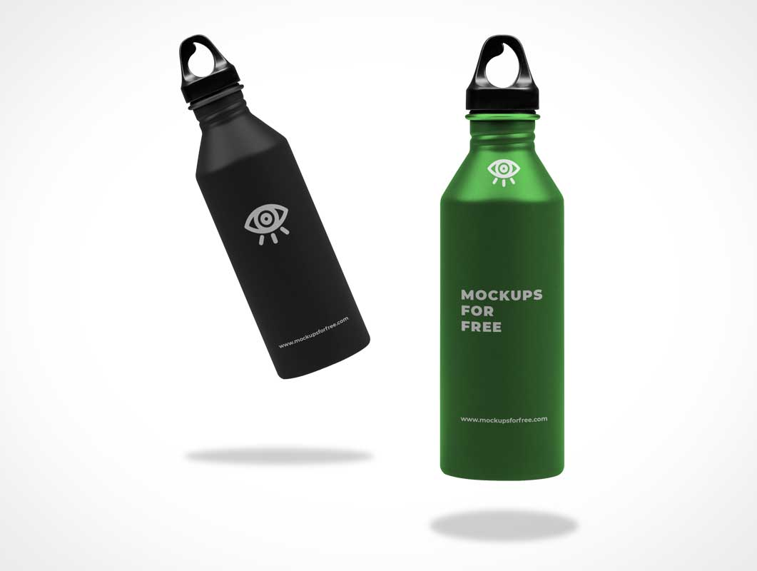Metallic Water Bottle Thermos PSD Mockup
