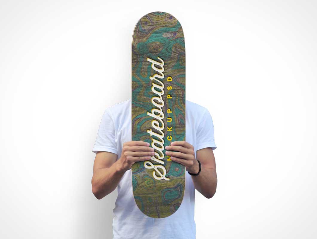 Pro Boarder Holding Skateboard PSD Mockup