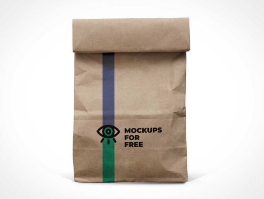 Recycled Paper Lunch Bag PSD Mockup