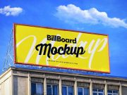 Rooftop Landscape Billboard Advertisement PSD Mockup