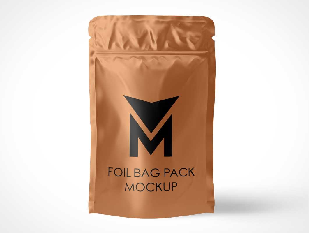 Sealed Foil Ziplock Pouch PSD Mockup