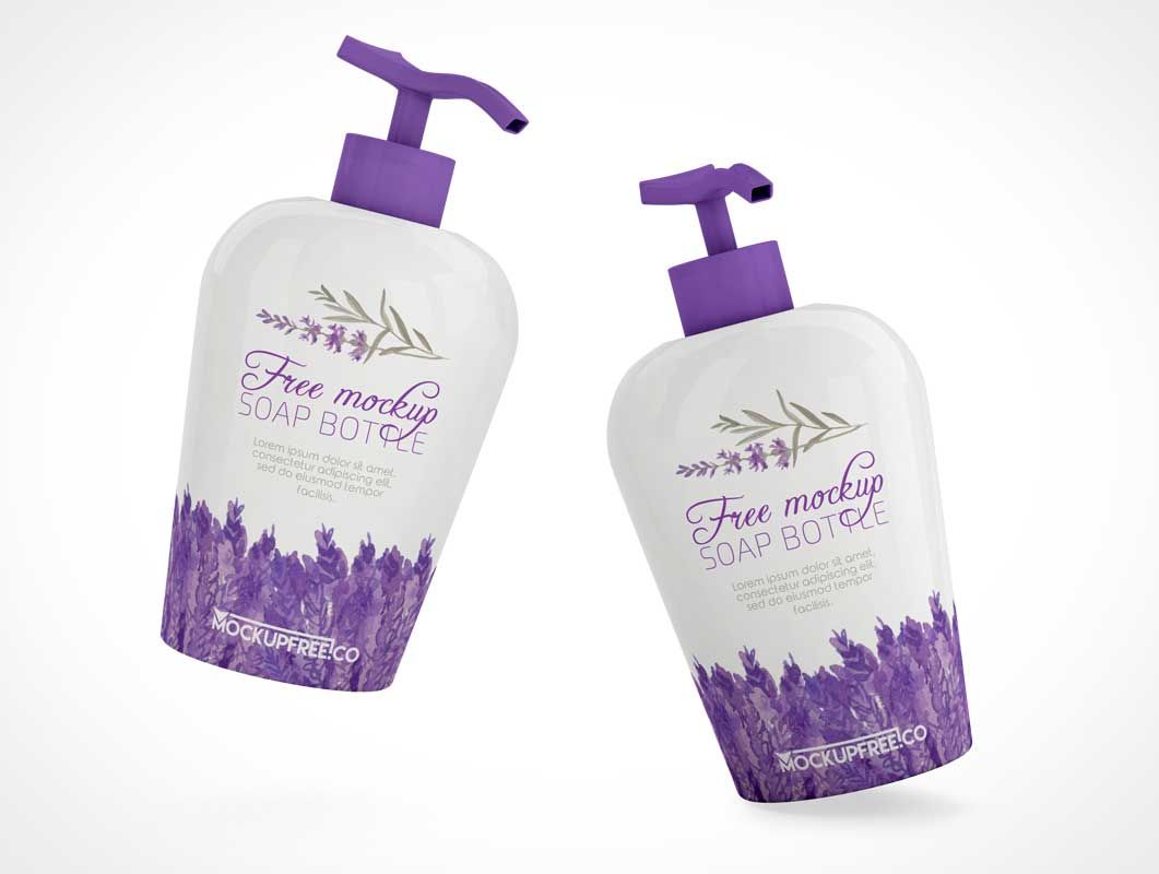 Soap Pump Dispenser Bottle & Nozzle PSD Mockup