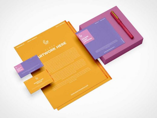 Stationery Letterhead, Stylus Pen & Post-it Pad PSD Mockup
