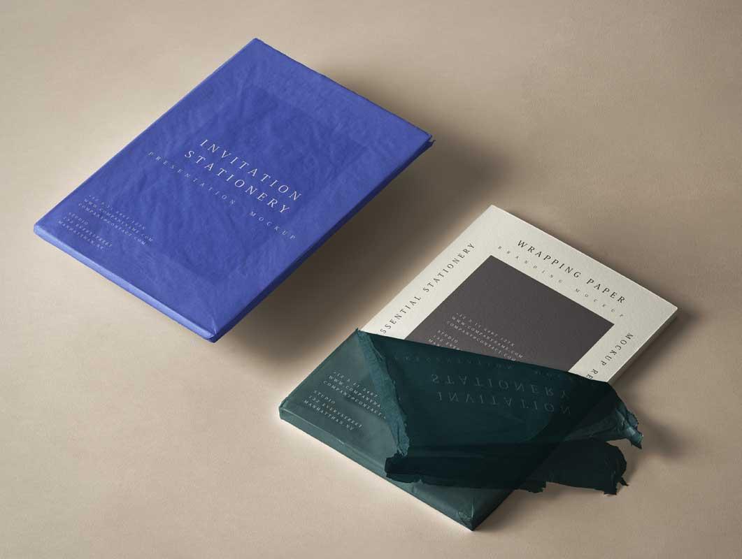 Wrapped Invitation Stationery Cards PSD Mockup