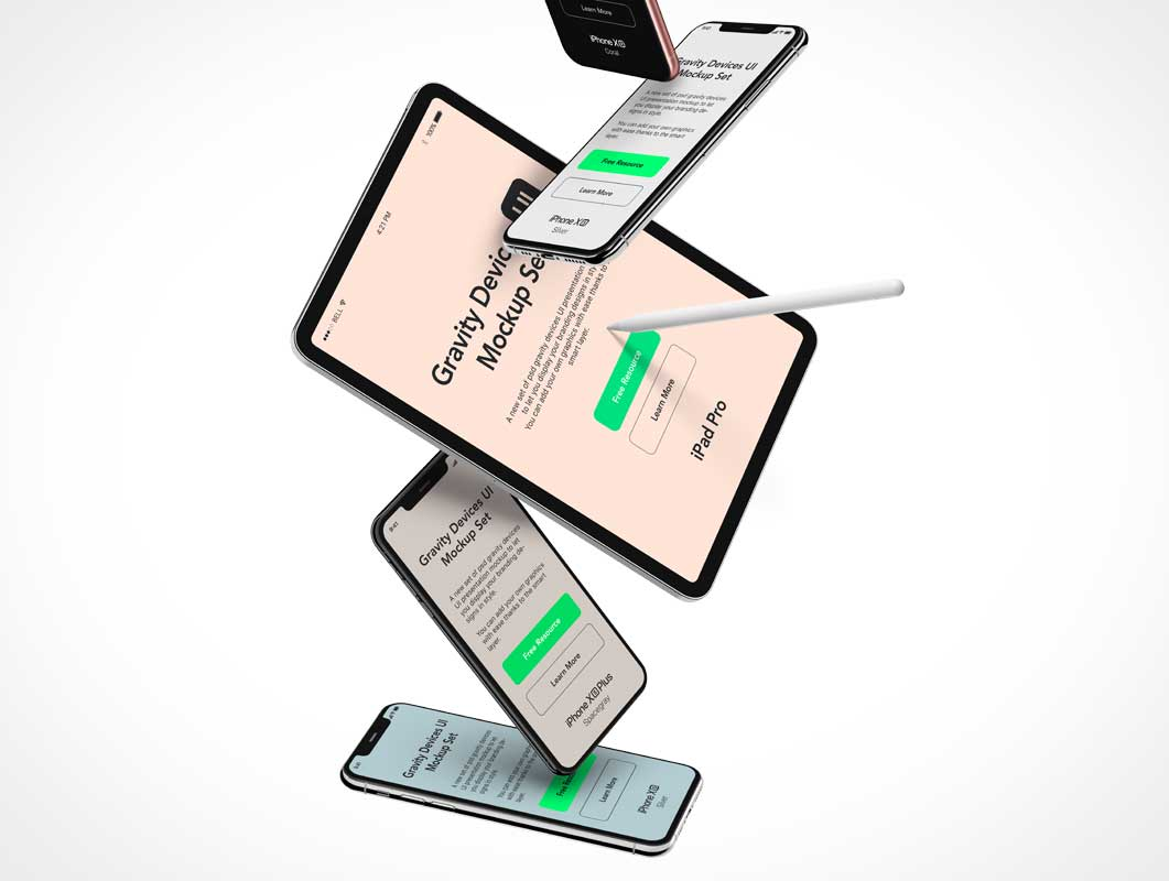 iPad, iPhone & Apple Pencil Stylus Falling PSD Mockup