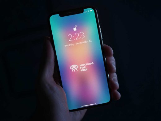 iPhone X In Hand PSD Mockup