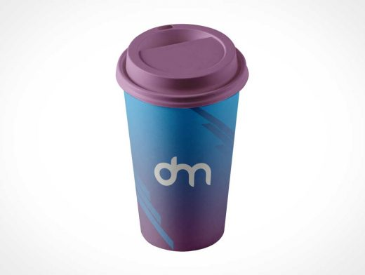 16oz Paper Coffee Cup & Sip Lid Cover PSD Mockup