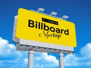 Advertising Outdoor Landscape Billboard & Lights PSD Mockup