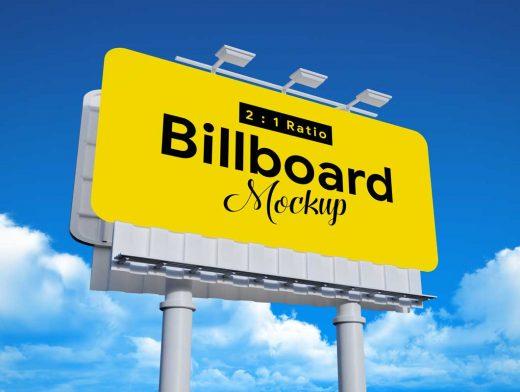 Advertising Outdoor Landscape Billboard & Lights PSD Mockup