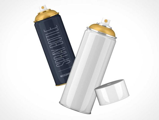 Aerosol Spray Cans & Plastic Cap PSD Mockup