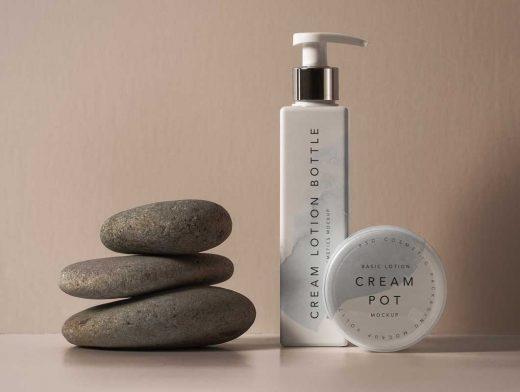 Cosmetic Square Lotion Bottle & Pump Nozzle PSD Mockup