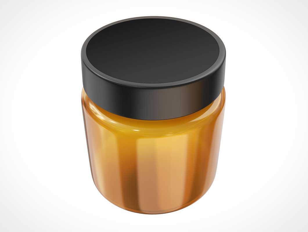 Cosmetics Cream Wide Mouth Glass Jar PSD Mockup