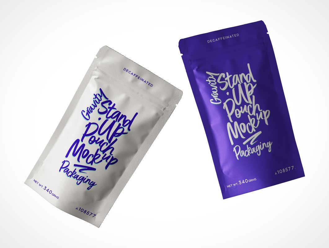 Foil Sealed Ziplock Pouch Packaging PSD Mockup