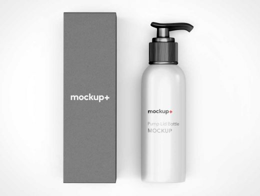 HDPE Lotion Pump Cylinder Bottle & Packaging PSD Mockup
