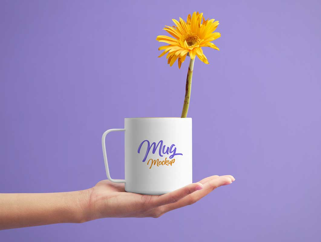 Hand Held Ceramic White Mug PSD Mockup