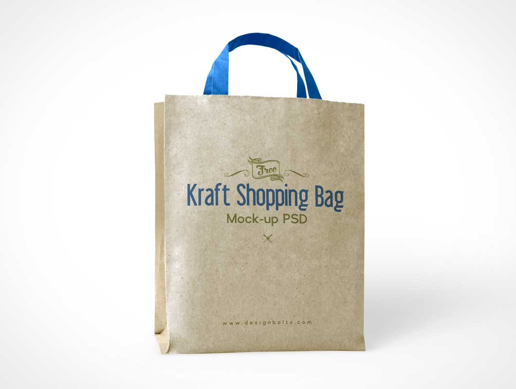 Kraft Recycled Paper Bag & Handles PSD Mockup
