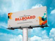 Landscape Paper Billboard Ad PSD Mockup