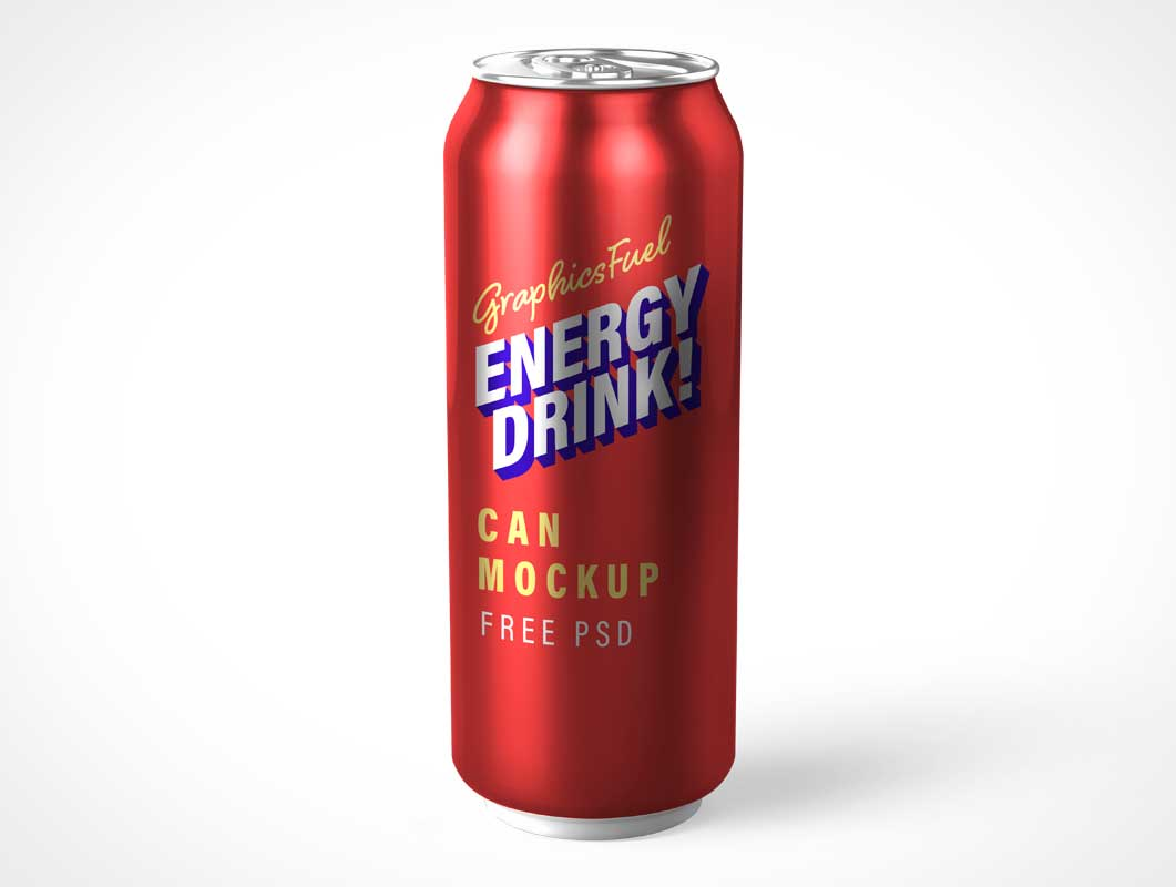 Large Energy Drink Soda Can PSD Mockup
