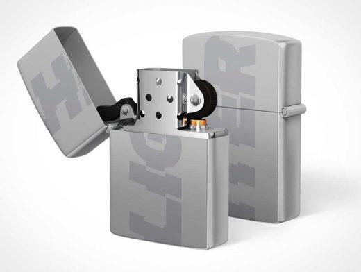 Metal Zippo & Flip Cover PSD Mockup