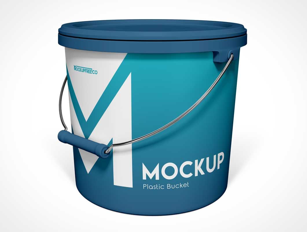 Plastic Bucket Container & Handle PSD Mockup