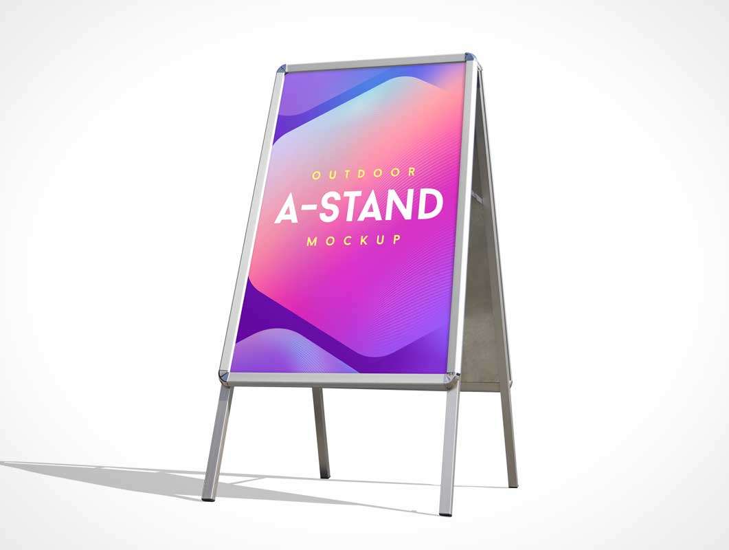 Portrait Metal A-Frame Foldable Sign PSD Mockup
