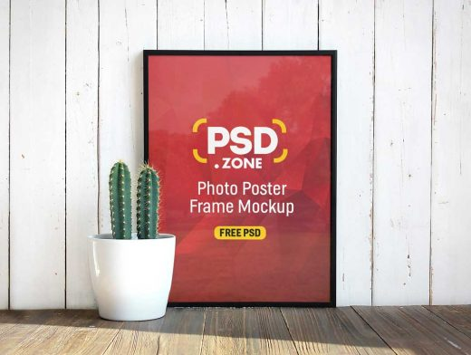Portrait Photo Frame & Potted Cactus PSD Mockup