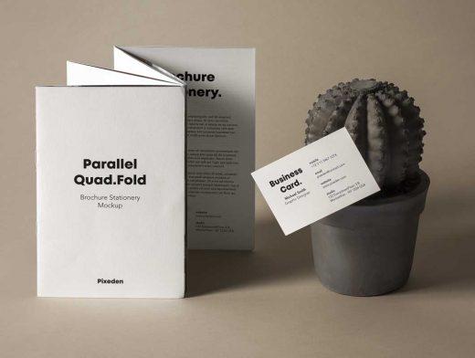 Quad-Fold Leaflet Brochure PSD Mockup
