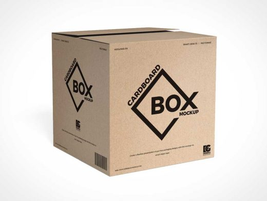 Recycled Square Cardboard Packaging Box PSD Mockup