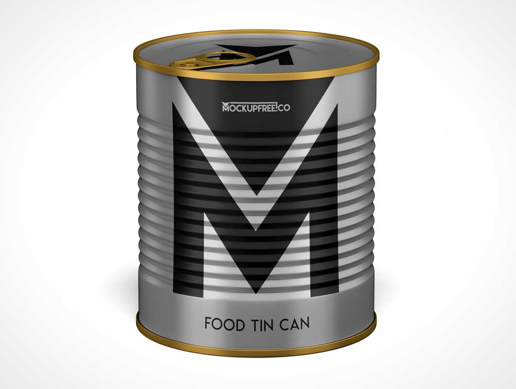 Ribbed Steel Soup Can & Pull Tab PSD Mockup