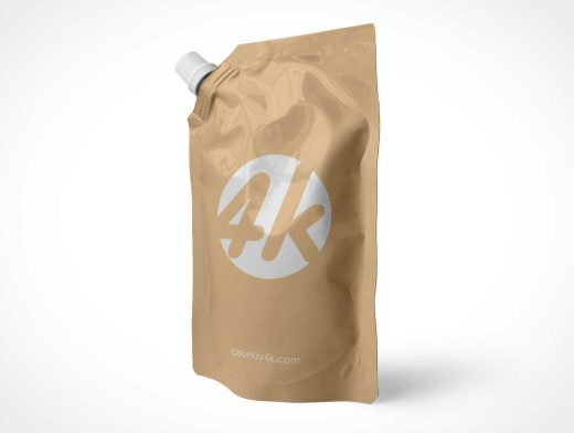 Sealed Foil Drink Pouch & Spout PSD Mockup