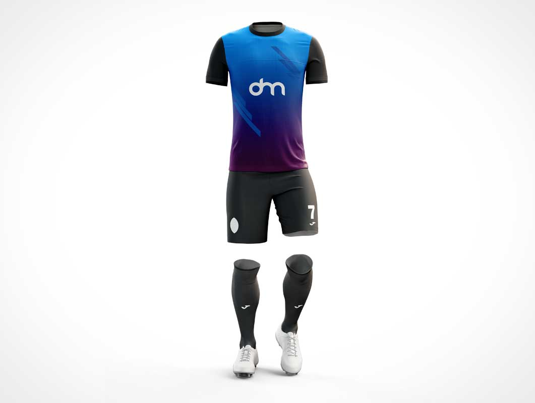 Soccer Uniform T-Shirt, Shorts, Socks & Shoes PSD Mockup