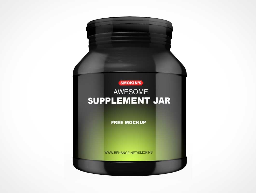 Sports Protein Supplement Container Jar PSD Mockup