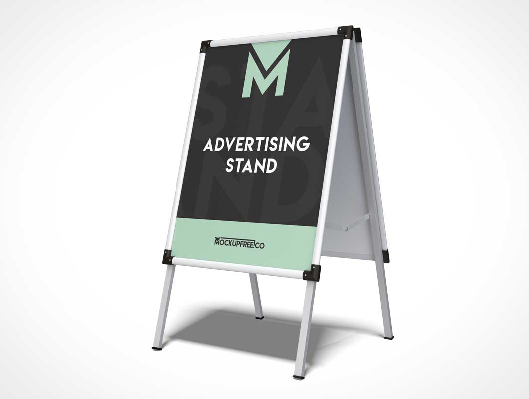 Storefront Display Stand Signboard PSD Mockup