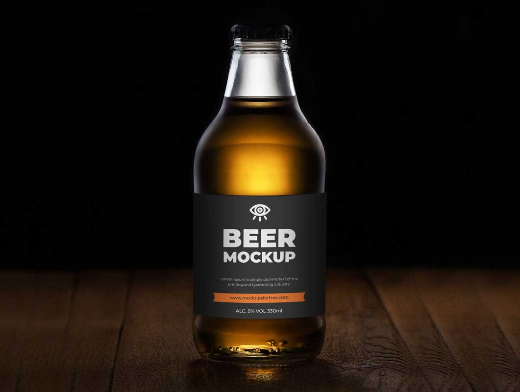 Stubby Beer Bottle PSD Mockup