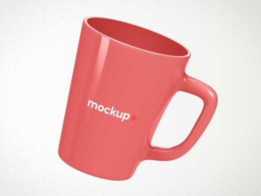 Tapered Glazed Ceramic Coffee Mug PSD Mockup