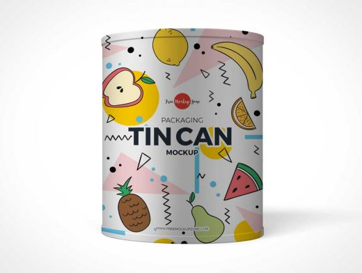 Tin Cylinder Container PSD Mockup
