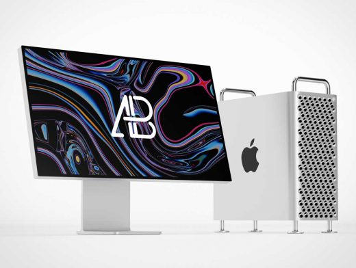 Apple XDR Monitor & Cheese Grater Mac Pro PSD Mockup