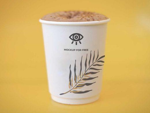 Cappuccino & Foam Paper Cup PSD Mockup