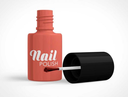 Cosmetics Nail Polish Bottle & Applicator Brush PSD Mockup