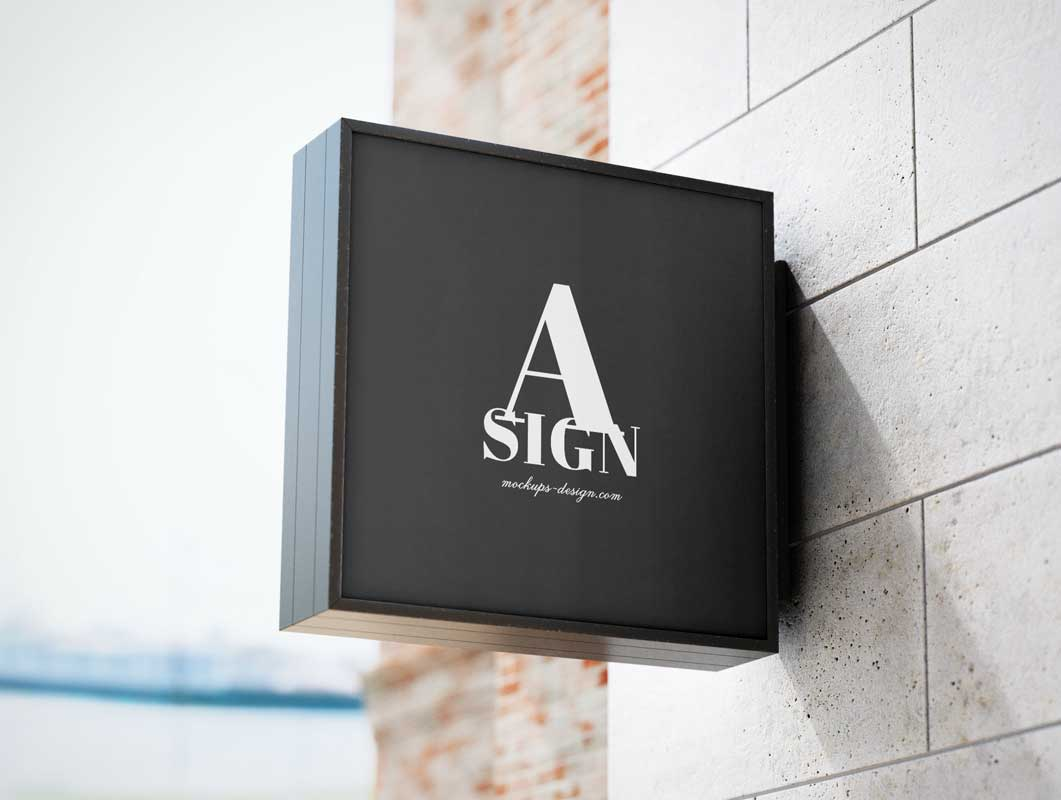 Exterior Square Store Signage PSD Mockup