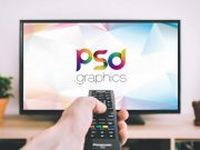 Flat Screen Smart TV & Remote Controller PSD Mockup