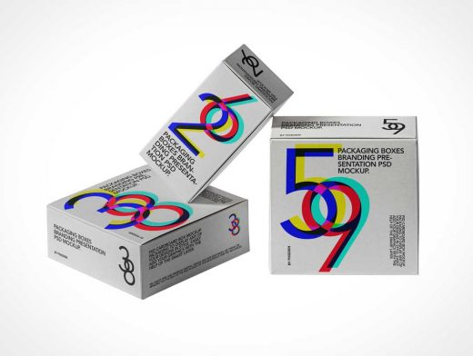 Gift Box Packaging PSD Mockups