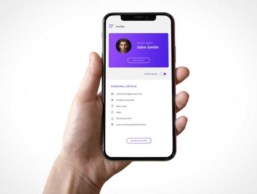 Hand Holding iPhone X Front View PSD Mockup
