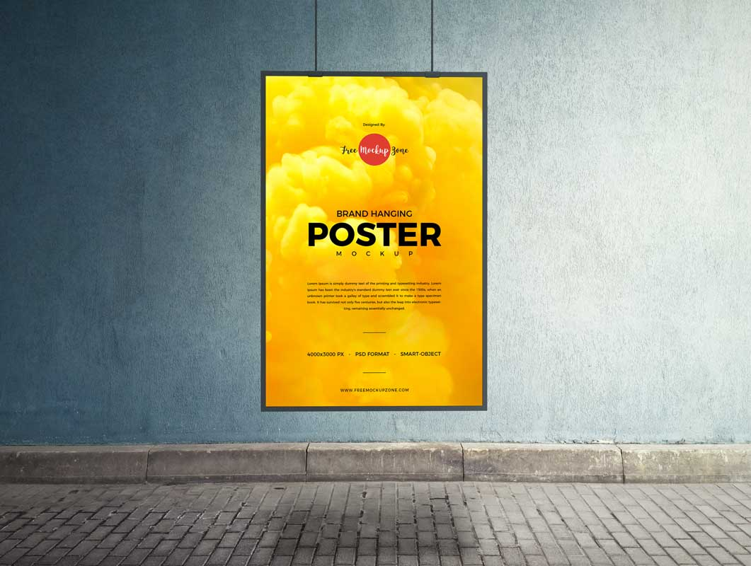Hanging Portrait Mode Poster & Frame PSD Mockup