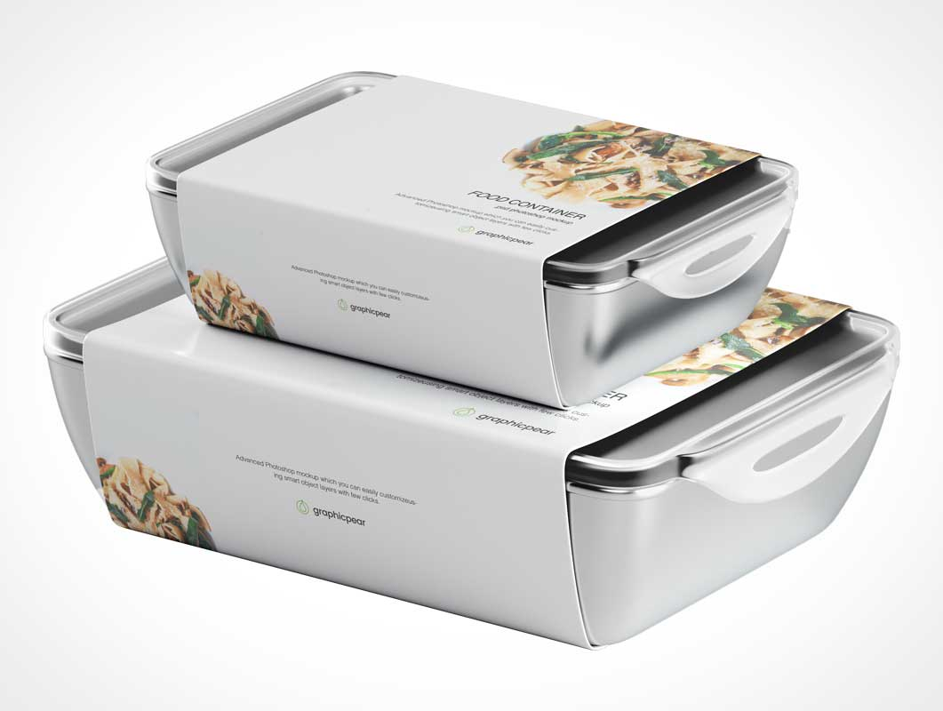 Locking Tupperware Food Containers PSD Mockup