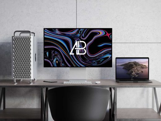 Mac Pro Cheese Grater & XDR Display Monitor PSD Mockup