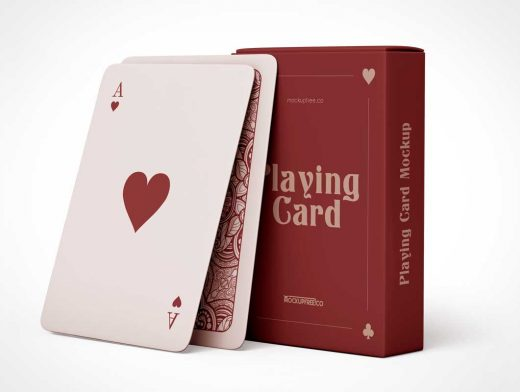 Playing Cards & Deck Box Packaging PSD Mockup