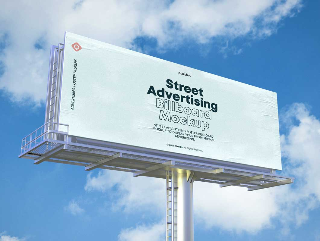 Roadside Landscape Billboard Advertising PSD Mockup