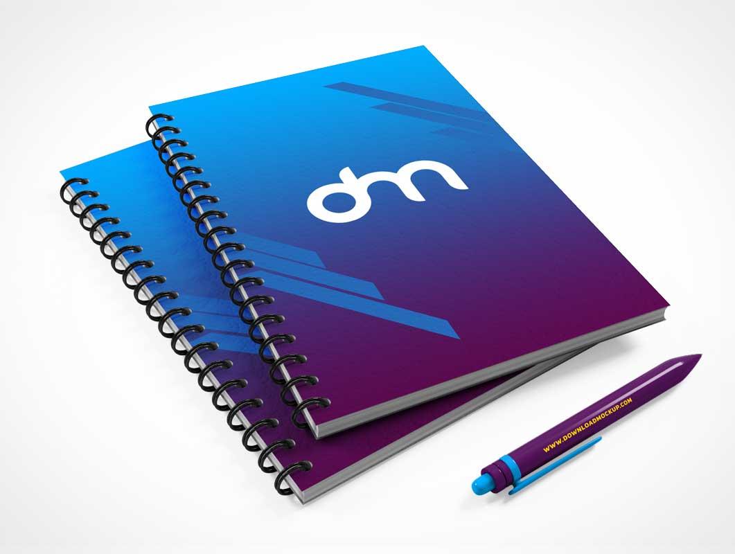 Spiral Bound Notebook Pair & Stylus PSD Mockup