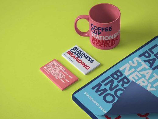 Stationery Paper, Business Cards & Ceramic Mug PSD Mockup